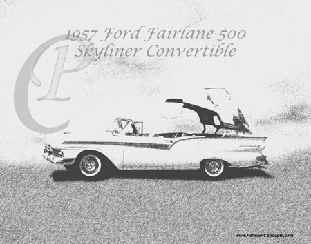 1957 Ford Fairlane 500 Skyliner Convertibl sketch