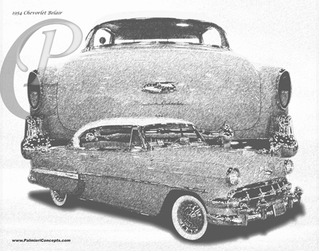1954 Chevy Belair on trunk drawing