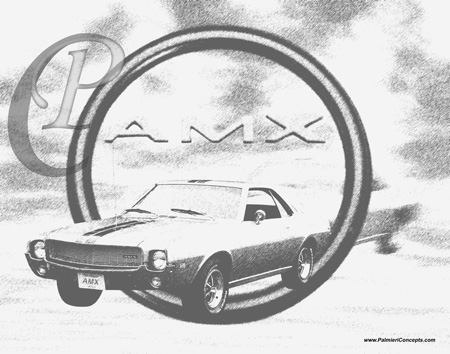 palmieri concepts black and white sketchs vintage cars muscle 1973 Hurst Olds 1969 am amc drawing