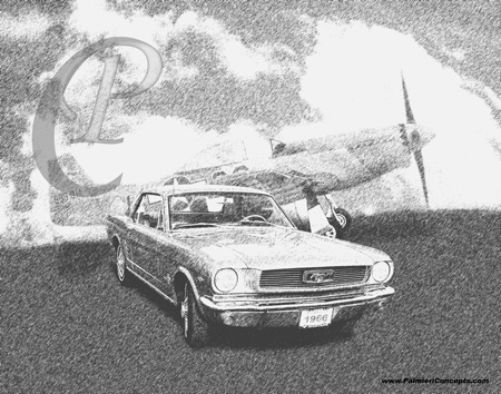 1966 Mustang and P51 Plane sketch