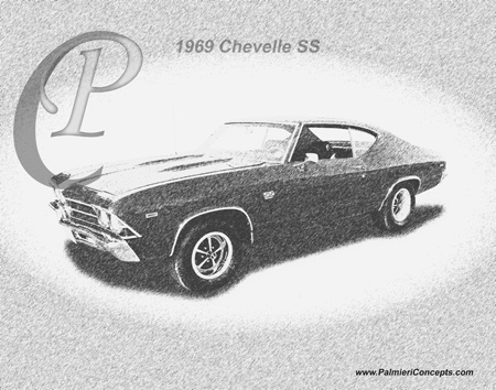 1969 Chevy Chevelle SS spotlight sketch