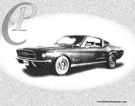 1967 Mustang Fastback drawing