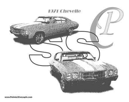 1971 Chevy Chevelle drawing