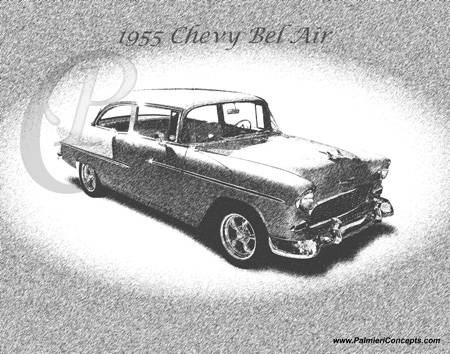 1955 Chevy BelAir drawing