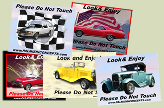 custom car magnets dash plaques image