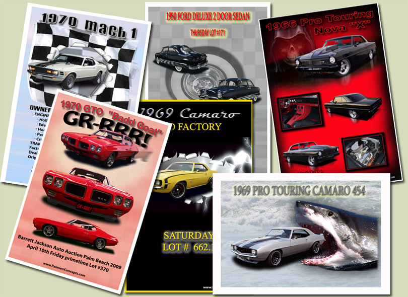 custom designed car postcards