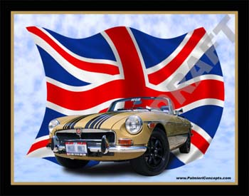 1973 MGB with British flag Image