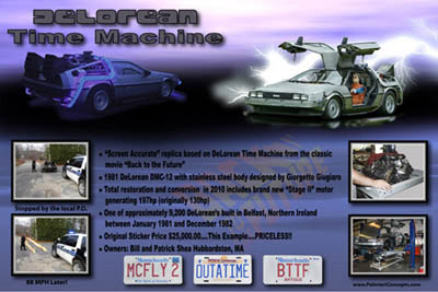 Delorean DMC-12 Back to the Future themed show board
