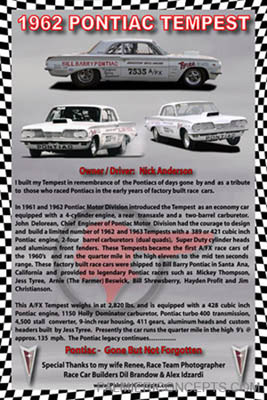 1962 Pontac Tempest - Anderson Brothers racing poster