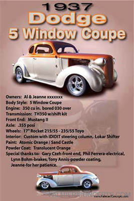 1937 dodge 5 window coupe show board picture